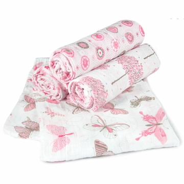 TLLCA Printed Muslin 4 Pack Swaddles - Secret Garden
