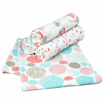 TLLCA Printed Muslin 4 Pack Swaddles - Candy