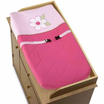 Sweet JoJo Designs Flower Pink and Green Changing Pad Cover