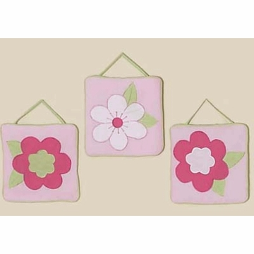 Sweet JoJo Designs Flower Pink and Green Wall Hangings