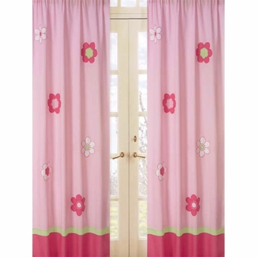 Sweet JoJo Designs Flower Pink and Green Window Panels- Set of 2