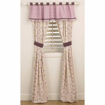 CoCaLo Sugar Plum Window Drapes - 2 Panels with Tie Backs