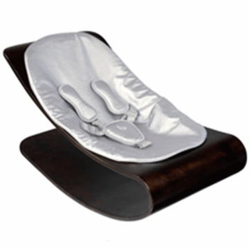 Bloom Coco Style Wood Cappuccino Baby Lounger in Silver Metallic