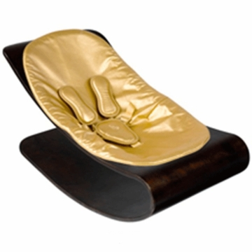 Bloom Coco Style Wood Cappuccino Baby Lounger in Gold Metallic