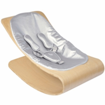 Bloom Coco Style Wood Natural Baby Lounger in Silver Metallic
