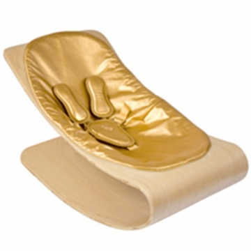 Bloom Coco Style Wood Natural Baby Lounger in Gold Metallic