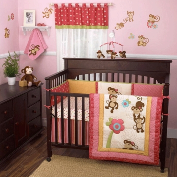 CoCo & Company Melanie the Monkey 4 Piece Crib Bedding Set