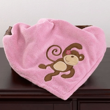 CoCo & Company Melanie the Monkey Appliqued Sherpa Blanket
