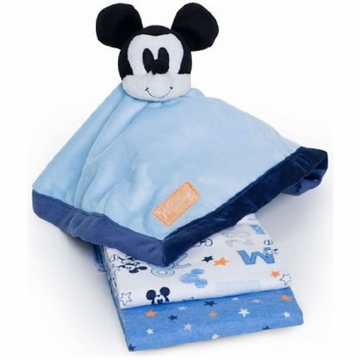 Kids Line Mickey 2PK Receiving Blankets + Security Blanket