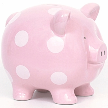 Child to Cherish Large Pink Polka Dot Pig Bank