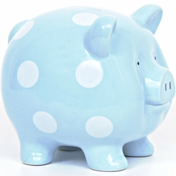 Child to Cherish Large Blue Polka Dot Pig Bank