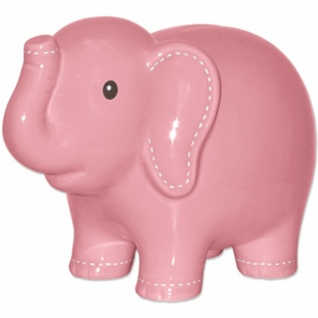 Child to Cherish Large Stitched Elephant Bank in Pink