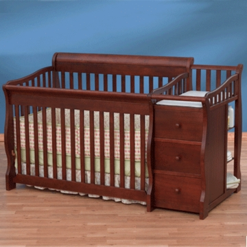 Simplicity Crib n' Changer Combo Ellis Converible 4in1 Crib in Cherry