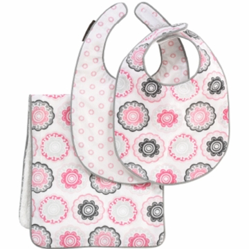 DwellStudio Zinnia Rose Bibs/Burp Set