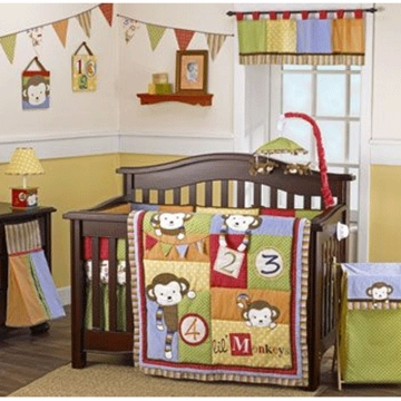 CoCaLo Baby 4 Lil' Monkeys 6 Piece Infant to Toddler Crib Bedding Set