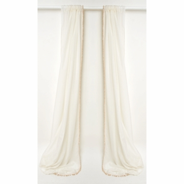 Glenna Jean Finley Sheer Window Panels with Cream Pom Poms