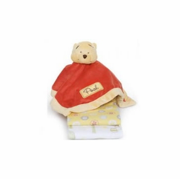 Kids Line Pooh 3PK Receiving Blankets + Security Blanket (Unisex)