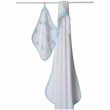 Aden + Anais Hooded Towel and Muslin Washcloth Set - Hide and Sea