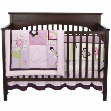 Kids Line Tiddliwinks Plum Butterfly 3 Piece Bed Set