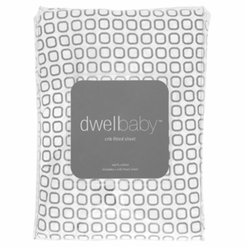 DwellStudio Squares Dove Grey Crib Sheet