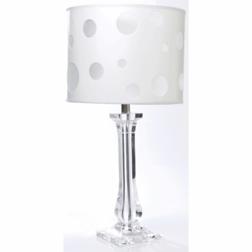 Sweet Potato Lamp - Clear Lucite Base with Dot Shade