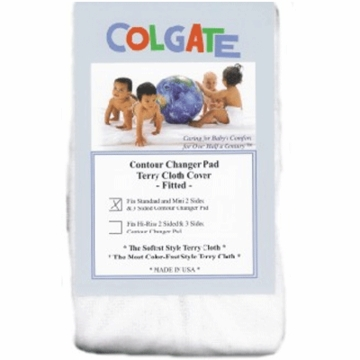 Colgate Fitted Terry Cloth Contour Changing Pad Cover in White