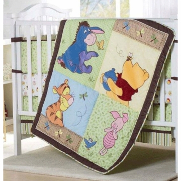 KidsLine Disney Pooh 4 Piece Crib Bedding Set
