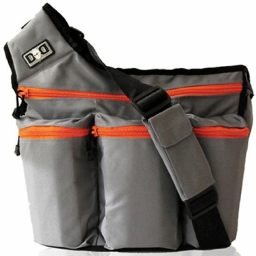 Diaper Dude Grey Dude with Orange Zippers Diaper Bag