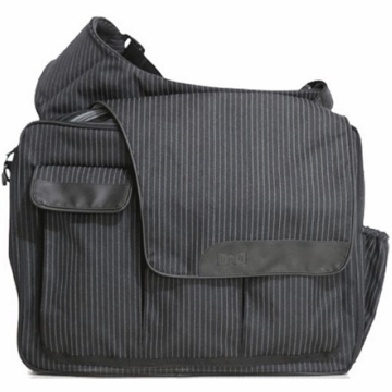Diaper Dude's DD Flap Messenger II Bag in Retro Black Pin Stripe