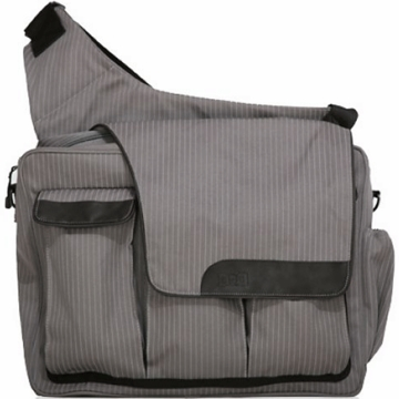 Diaper Dude's DD Flap Messenger II Bag in Retro Grey Pin Stripe