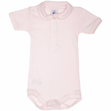 Petit Bateau Baby Short Sleeved Bodysuit with Collar in Charmuse- 3 Months