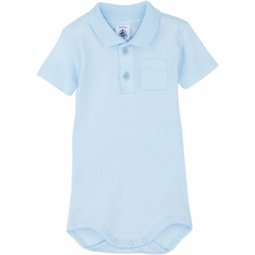 Petit Bateau Baby Short Sleeved Polo Shirt Bodysuit- 12 Months