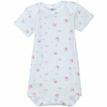 Petit Bateau Baby Girl Short Sleeved Floral Print Bodysuit- 12 Months