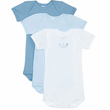 Petit Bateau Baby Boy Pack of 3 Short Sleeved Bodysuits- 6 Months