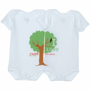 Petie Bateau Baby Pack of 2 Short Sleeved Bodysuits in Organic Cotton-6 Months