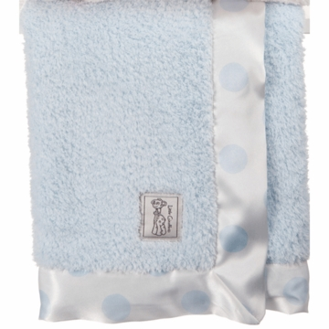 Little Giraffe New Dot Chenille Blanket in Blue