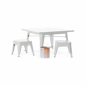Little Nest Industry Table & Stool Set in White