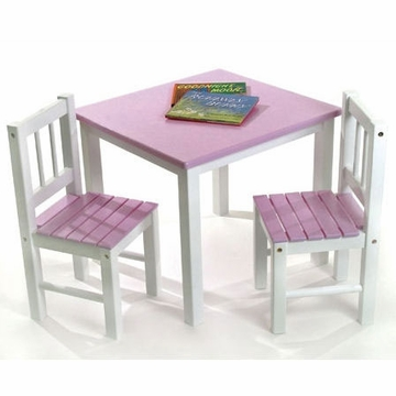 Lipper International Kids' Table and Chair Set in Pink and White - 513PK