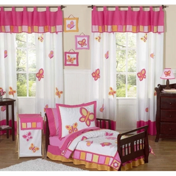 Sweet JoJo Designs Pink & Orange Butterfly 5 Piece Toddler Bedding Set