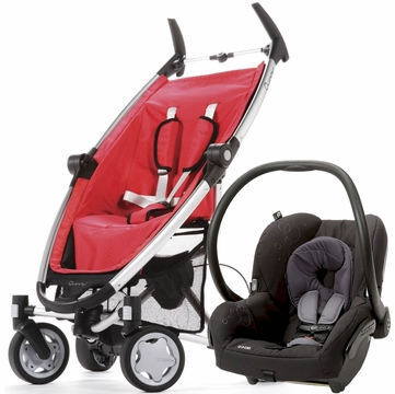 Quinny Zapp + Maxi Cosi Mico Travel System - Strawberry / Total Black