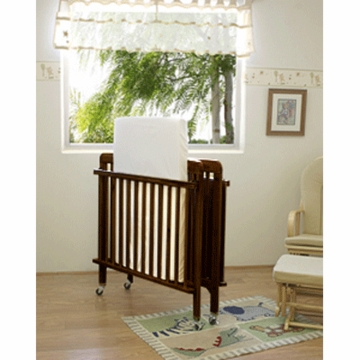 La Baby Full Size Folding Wood Crib in Espresso