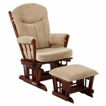 Shermag Regency Multi-Position Locking Glider Rocker & Ottoman Set- Cherry Finish