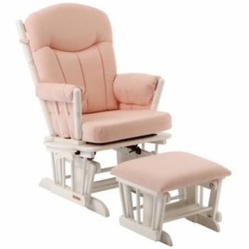 Shermag Regency Premium Multi-Position Locking Glider Rocker and Ottoman Set - White Finish with Pink Fabric