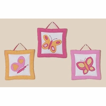 Sweet JoJo Designs Pink & Orange Butterfly Wall Hangings