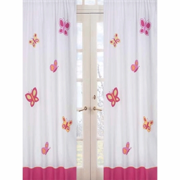 Sweet JoJo Designs Pink & Orange Butterfly Window Panels- Set of 2