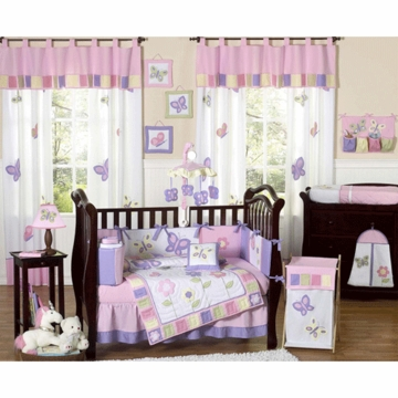 Sweet JoJo Designs Pink & Purple Butterfly 9 Piece Crib Bedding Set