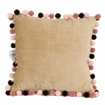 Glenna Jean Just Buggy Tan with Pom Poms Pillow