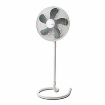 "Holmes HASF1516 16"" Oscillating Stand Fan with Elegant Swirl Base, White"