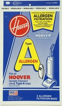 Hoover 4010100A Type A Allergen Filtration Vacuum Bags (3 pack)