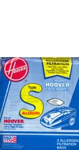 Hoover 4010100S Type S Allergen Filtration Vacuum Bags (3 pack)